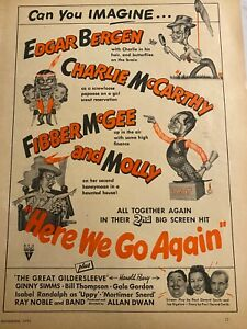 Here We Go Again, Fibber McGee and Molly, Edgar Bergen, Vintage Promotional Ad