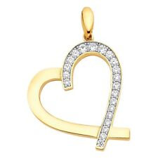 Pendant Open Design Fancy 22 x 24 mm Cz Heart Charm Solid 14k Yellow Gold Love