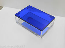 "7""x5""x2.5"" H Clear Display Box w/Mirror Inset and Fitted Blue Lid Lucite/Acrylic"