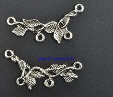 50pcs Tibetan Silver Branch Charms Pendant Connectors fit Jewelry 32X9MM G3428