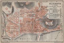 Alicante Antiguo Ciudad City Ciudad Plan. España España Mapa. Baedeker 1913