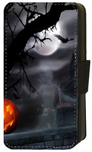 SPOOKY SCARY HALLOWEEN PUMPKIN SKULL GHOST Wallet Flip Phone Case iPhone (S1)