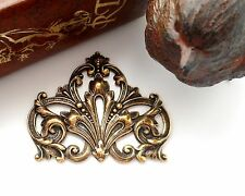 ANTIQUE BRASS Flourish Scroll Crest Stamping - Jewelry Findings (FA-6081) `
