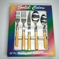 20 pc Vintage Stainless Steel Rivet Handle Flatware Set Yellow Nancy Calhoun NIB