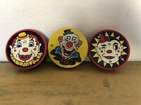 Vintage Clown Noisemakers Kirchhoff US Metal Toy Lot Of 3
