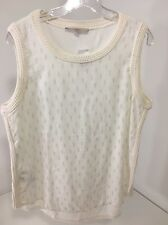 ANN TAYLOR THE LOFT SLEEVELESS SWEATR KNIT TRIM TOP WHITE/BEIGE MED NWT $40