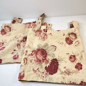 waverly valance curtain pair floral beige red roses peony 52x13 rod loop