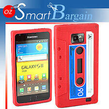 CASSETTE TAPE RED SILICONE SKIN CASE COVER FOR SAMSUNG i9100 GALAXY S2 + SP