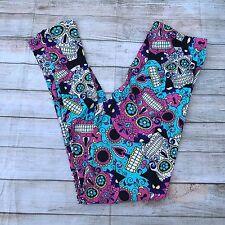 Sugar Skull Pink Black Blue White Women's Leggings PS Plus Size TC 12-20