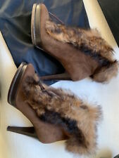 Ralph Lauren Collection Natalia Lambs Fur Leather Boots Sz 11 41 Made In Italy