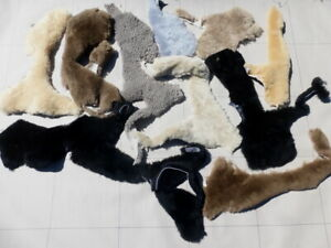 10 sheepskin shearling leather Partial Hides Remnants - 7 Different Colors 10sf