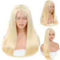 """Women Blonde Straight Long Hair Wig Heat Resistant Synthetic Wig Front Lace 26"""""""