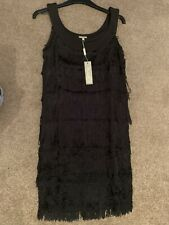 M&Co Black Fringe Dress Size 10 Bnwt