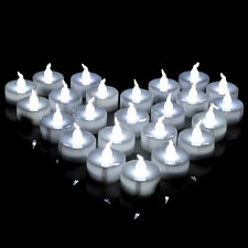 100 PCS Electronic Battery Tea Light LED Candle Cool White Flickering Flameless
