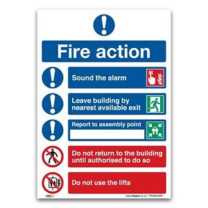 Fire Action Symbolised Plan Sign - 1mm Rigid Plastic Sign - Fire Action Safety