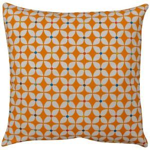 Retro Geometric Cushion in Bright Orange. 100% Cotton. Multicoloured Detail.