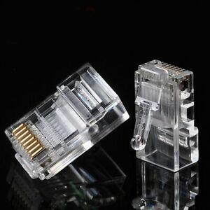 100Pcs RJ45 Pass Through End Open Cat5e Cat5 Cat6 Modular Plug Network Connector