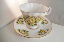 Vintage Royal Grafton Fine Bone China England Yellow Flowers Cup & Saucer