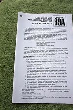 Marlin Model 39A Lever Action Rifle Parts and Assembly Manual, 4 pages ref info