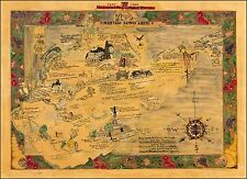 West Virginia 1607 - 1930 1933 hand drawn Historical pictorial map POSTER 45771