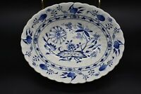 "Staffordshire English Blue Lily Blue Onion Blue & White Transferware 9"" Bowl"