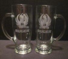 2 Ruger Firearms Glasses Glass Beer Mug Tall Handle Cup 16 oz Pint Logo Phoenix