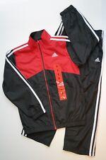 NEW NWT ADIDAS 2Pc Black Red & White Windsuit Jacket & Pants Boys 7