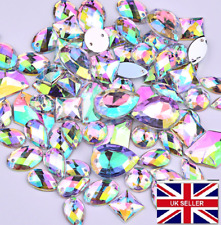 50 RESIN AB CLEAR Sew On, Stitch On, Stick on DIAMANTE Crystal Rhinestones CRAFT