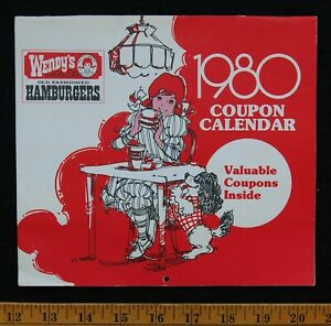 [ 1980 Wendy's Coupon Calendar - Vintage Fast Food Restaurant Collectible '80s ]