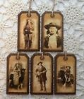 NEW  5 Handcrafted Wooden WILD WEST STYLE Hang Tags / Ornaments Set  5