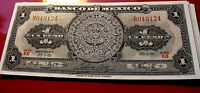 Brilliant Uncirculated 1961 Banco De Mexico AZTEC Calendar  CRISP! UN PESO NOTE