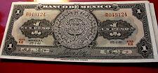 Brilliant Uncirculated 1961 Banco De Mexico AZTEC Calendar  CRISP! UN PESO NOTE