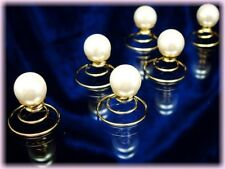 """Bijoux Mariage 6 twisters dorés cheveux """"perle"""" diadème"""