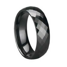 MEN 8mm Faceted Black CERAMIC WEDDING BAND Comfort Fit ring size 10.5