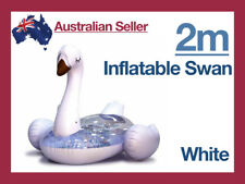 Giant Inflatable Swan Blow Up Pool Toy Float Swimming Ride On 2m White Large
