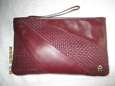 Womens Handbag Vintage Etienne Aigner Burgundy Leather Clutch Wristlet PurseNEW
