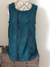 Oasis Ladies Bkack Green Sleeveless See Thru Top Size Uk 14 Button Detail