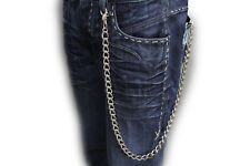 Men Silver Casual Chunky Metal  Long Wallet Chains KeyChain Biker Jeans itm 760