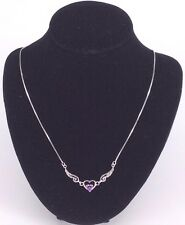 Amethyst Angel Wings Sterling Silver Necklace