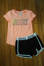 NWT/NWOT Justice girls outfit Top / Mesh shorts Size 8