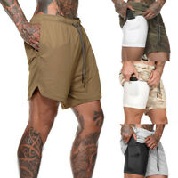 New Men Summer 2 In 1 Liner Shorts Quick Drying Short Pants Sports Beach Casual
