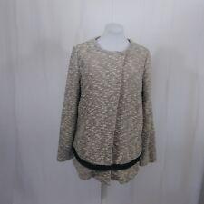Lori Goldstein  LOGO Large Tweed Sweater Coat Fringe Button Cream Black
