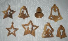 8 New Olive Wood Holy Land Christmas Tree Ornaments, Made In Israel