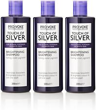 3x Provoke Touch Of Silver Brightening Shampoo Grey, White Blonde Hair 200ml