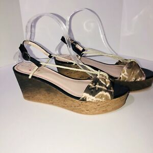NWOB Plenty By Tracy Reese Leather Canvas Wedge Sandals Ombre Cork Shoes Size 40