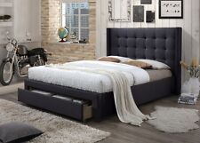 Rocky Styling Wing Queen Size Fabric Bed Frame with 1 Drawer - Dark Grey