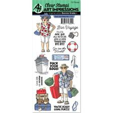 Art Impressions Clear Stamps - Pack Your Bags - Cruise, Bon Voyage, Retirement