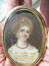 Antique Portrait Miniature Painting Pretty Young Blond Lady Coral Necklace Pearl