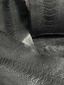 Ostrich Legs Leather Charcoal Color  (%100 Genuine Ostrich Leather)