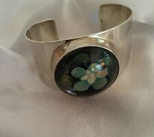 Native American Vintage Sterling Cuff Bracelet With Flower In Resin Dome